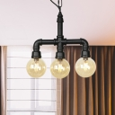 3/4 Heads LED Pendant Vintage Restaurant Ceiling Chandelier with Globe Amber Glass Shade in Black