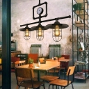 Black Wire Cage Island Lighting Industrial Metallic 3 Bulbs Restaurant Suspension Lamp with Water Meter Deco