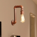 1-Bulb Wall Sconce Lamp Industrial Water Pipe Metallic Wall Mount Light in Coffee with Right Angle Design