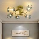 Modern Cup Shape Ceiling Mount Fixture Gradual Blue Dimpled Glass 5-Light Bedroom Semi Flush with Spiral Design