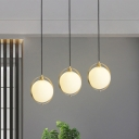 Gold Global Hanging Lighting Modernist 3 Lights Milk Glass Cluster Pendant Lamp with Linear/Round Canopy