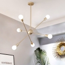 Minimalist Linear Ceiling Chandelier Metal 6-Bulb Living Room Suspended Pendant Light in Brass