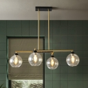 4 Heads Dining Room Chandelier Modernism Brass Finish Linear Pendant with Ball Clear Glass Shade