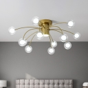 Clear Glass Bubble Flush Mount Contemporary 13-Head Brass LED Flush Light Fixture for Living Room
