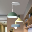 3 Bulbs Dining Room Hanging Lamp Modern Nordic White Cluster Pendant Light with Geometry Metal Shade