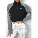 Cool Girls Long Sleeve Mock Neck Half Zipper Letter DOULE Color Block Loose Crop Sweatshirt in Black