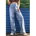 Cool Trendy Street Girls High Rise Long Length Straight Jeans in Blue