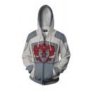 Trendy Guys Long Sleeve Anime Cosplay Geo 3D Printed Costume Zip Up Relaxed Hoodie in Grey
