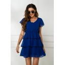 Casual Pretty Girls Short Sleeve V-Neck Ruffled Trim Tiered Mini Pleated A-Line Dress in Blue