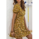 Pretty Girls Puff Sleeves V-Neck Button Detail All Over Floral Printed Mini A-Line Dress in Khaki