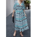Ethnic Ladies Blouson Sleeve V-Neck Button Down All Over Floral Printed Maxi A-Line Dress