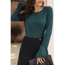 Formal Girls Bell Sleeve Round Neck Lace Trim Slim Fit Work Tee Top in Green