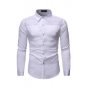 Stylish Boys Long Sleeve Lapel Collar Button Down Pleated Solid Color Curved Hem Slim Fit Shirt