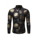 Fashionable Long Sleeve Lapel Collar Button Down All Over Floral Bronzing Slim Fit Shirt for Men