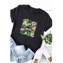 Popular Girls Roll-Up Sleeve Crew Neck Letter WE'RE TROPICAL Flower Graphic Relaxed Tee Top