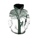 New Fashion Long Sleeve Drawstring Cartoon Tree 3D Pattern Kangaroo Pocket Loose Hoodie in White