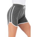 Active Girls Drawstring Waist Contrasted Piped Cotton Slit Side Fitted Shorts