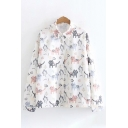 Fancy Girls Long Sleeve Lapel Collar Button Down All-Over Cat Printed Relaxed Fit Shirt in White