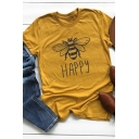 Funny Bee Happy Graphic Printed Round Neck Short Sleeve Leisure T-Shirt