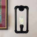 Vintage Rectangle Pipe Frame Wall Lighting 1 Bulb Metallic Sconce Lamp Fixture in Black