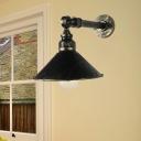 1-Light Iron Wall Mount Light Industrial Antique Brass Cone Restaurant Wall Sconce