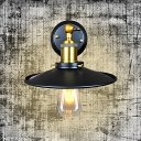 Countryside Wide Flare Wall Light Sconce 1-Bulb Metallic Wall Mounted Lamp in Black