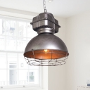 Silver 1-Bulb Drop Lighting Vintage Metal Wire Cage Pendant Ceiling Lamp with Dome Shade