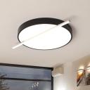 Black Drum Flush Mount Modernist LED Acrylic Flush Light Fixture in White/Warm Light, 16