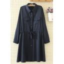 Leisure Womens Long Sleeve Lapel Collar Button Down Drawstring Waist Flap Pocket Plain Maxi Swing Shirt Dress