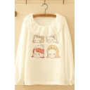 Preppy Girls Long Sleeve Round Neck Lace Trim Cartoon Girl Patterned Relaxed Fit Tee Top