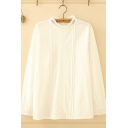 Pretty Girls Long Sleeve Crew Neck Button Down Lace Trim Pleated Loose Fit Shirt in White
