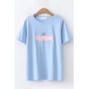 Fashion Womens Short Sleeve Round Neck Letter BRIT CORGI Dog Embroidered Loose T-Shirt