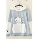 Chic Pretty Long Sleeve Drawstring Chinese Letter Cartoon Cat Graphic Color Block Relaxed Hoodie with Pocket