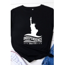 Popular Womens Roll Up Sleeves Round Neck Letter INDEPENDENCE Graphic Relaxed T Shirt