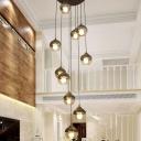 10 Heads Living Room Drop Lamp Minimalism Black Multi Light Pendant with Sphere Amber Glass Shade