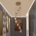 K9 Crystal Cylinder Cluster Pendant Simple 8 Heads Gold Suspension Light for Stair