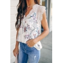 Fancy Ladies' Sleeveless V-Neck Lace Trim All-Over Floral Leopard Printed Loose Fit Tank Top