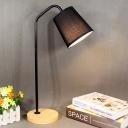 Barrel Task Light Modernist Fabric 1 Bulb Black Desk Lamp with Circular Beige Wood Base