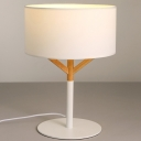 Fabric Cylinder Desk Lamp Nordic 1 Bulb White Reading Book Light for Living Room