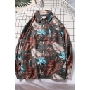 Trendy Boys' Long Sleeve Lapel Collar Button Down All Over Feather Printed Oversize Shirt