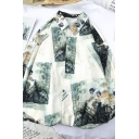 Chic White Long Sleeve Lapel Neck Button Front Painting Printed Relaxed Fitted Shirt for Cool Men