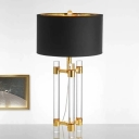 1 Head Bedside Table Light Modern Gold Small Desk Lamp with Cylinder Fabric Shade