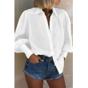 Trendy Women's Blouson Sleeve Lapel Neck Button Front Solid Color Relaxed Fit Shirt Top