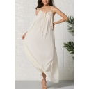 Pretty Beige Sleeveless Tied Neck Ruched Maxi Swing Cami Coast Dress for Women
