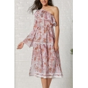 Pretty Leisure Pink Single Sleeve Oblique Shoulder Ruffled Trim All-Over Flower Pattern Maxi Pleated Swing Dress for Women