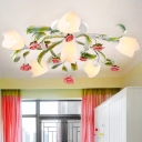 Antique Flower Ceiling Light Fixture 4/6/9 Bulbs Metal Semi Mount Lighting in Green and White for Living Room