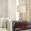 Tube Fabric Desk Light Modernist 1 Head White Night Table Lamp with Gold Metal Base