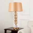 1 Head Bedside Table Lamp Modernist Yellow Task Lighting with Drum Fabric Shade