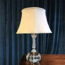 1 Bulb Flared Desk Lamp Modernist Fabric Table Light in Grey with Crystal Base