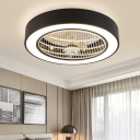 Drum Living Room Semi Flush Light Fixture Modern Acrylic White/Black Finish LED Ceiling Fan Lamp with 6 Blades, 23.5